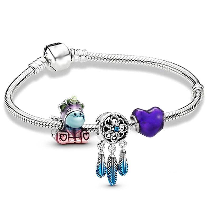 BRACE CO European Heart-shaped Pendant Charm Bracelet Fit Women's Jewellery Snake Chain Rose Gold Metal Fashion Fine Bracelets 6