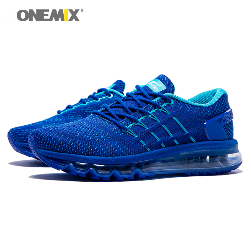 ONEMIX Air Cushion Men Running Shoes For Men Mesh Unique Shoe Tongue Athletic Trainers Black Breathable Sports Shoes Sneakers