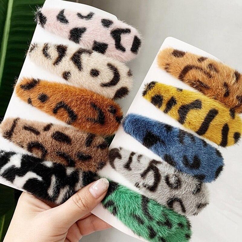 Girls Hair Accessories 2019 Women Vintage Leopard Plush Hair Clips Hairpins Hairgrips Faux Fur Barrettes For Women Headwear
