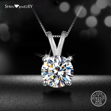 Shipei 100% 925 Sterling Silver Fine Jewelry Minimalism 8mm White Sapphire Pendant Necklace for Women Anniversary Gift