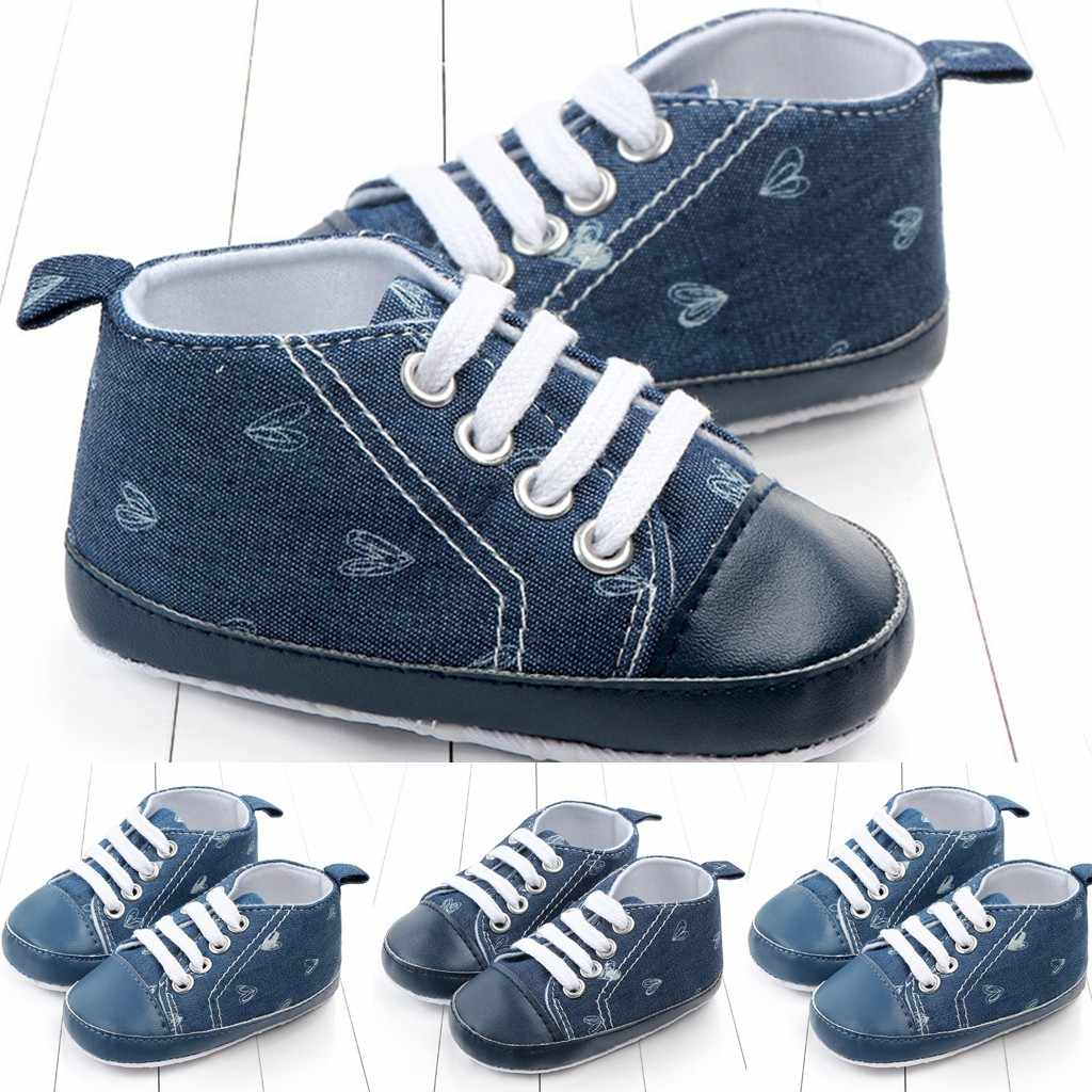 Toddler Baby Girls Boy Lace Up Denim Heart Toddler First Walk Soft Leather Shoes Unisex Solid Lace-Up Flat With First Walker