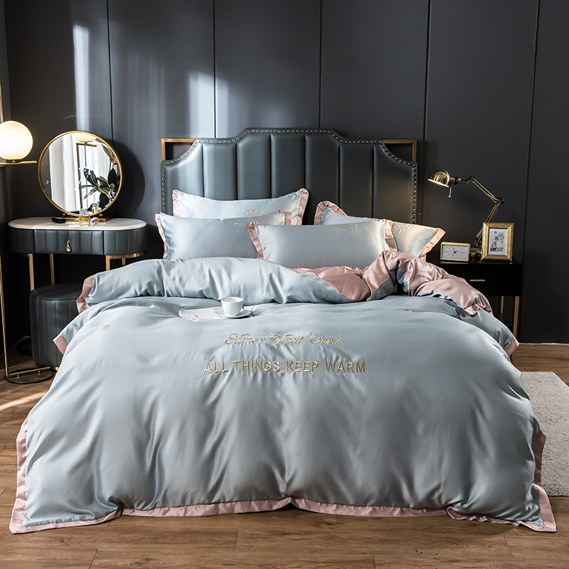 Luxury embroidery bedding set Silky touch bed sheet duvet cover sheet Fitted Bed sheet Flat Bed sheet king queen size