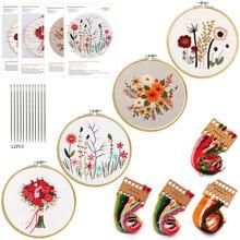 1PCS Embroidery Kit Hoop DIY Flowers Plants Pattern Bastidor Para Bordar Cross Stitch Punch Needle Kit Borduurpakket Kruissteek