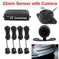Auto Parktronic LED Parkplatz Sensor mit Backup Kamera Rückansicht 22mm 4 Sensoren Monitor System Auto Umkehr Radar Sound alarm