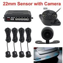 Auto Parktronic Parkeer Sensor Met Backup Camera Achteruitrijcamera 22 Mm 4 Sensoren Monitor Systeem Auto Omkeren Radar Sound alert