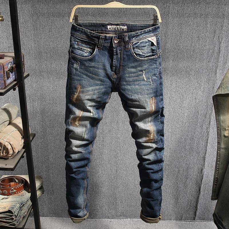 Italian Style Fashion Men Jeans Retro Blue Patchwork Ripped Jeans Men Vintage Designer Denim Cotton Pants Hip Hop Jeans Homme