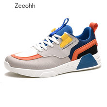 Zeeohh Man's Sneakers Chunky Wedge Dad Shoes Couple INS Hot Harajuku Style Lace-Up Mesh Flock Male Sneakers Brand Men Shoes(China)