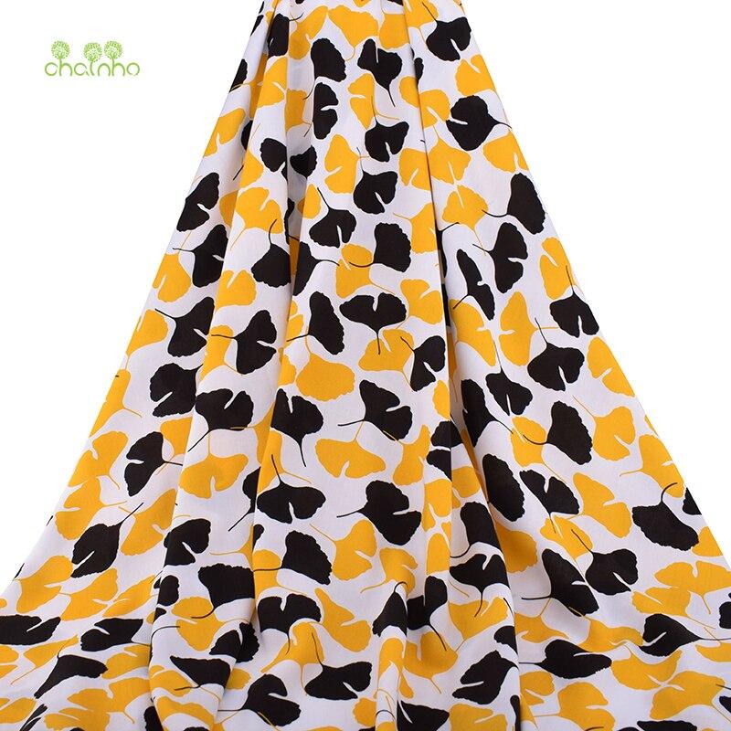 Chainho,Summer Apparel Fabric/Ginkgo Biloba Printed Pattern/Imitation Silk/Skirt/Dress/Shirt Material/Meter,100x140cm,PCC084