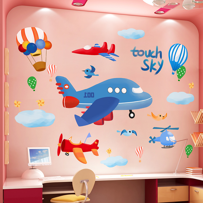 Cartoon Airplanes Wall Sticker DIY Hot Air Balloons Clouds Wall Decals for House Kids Bedroom Baby Room Decoration image