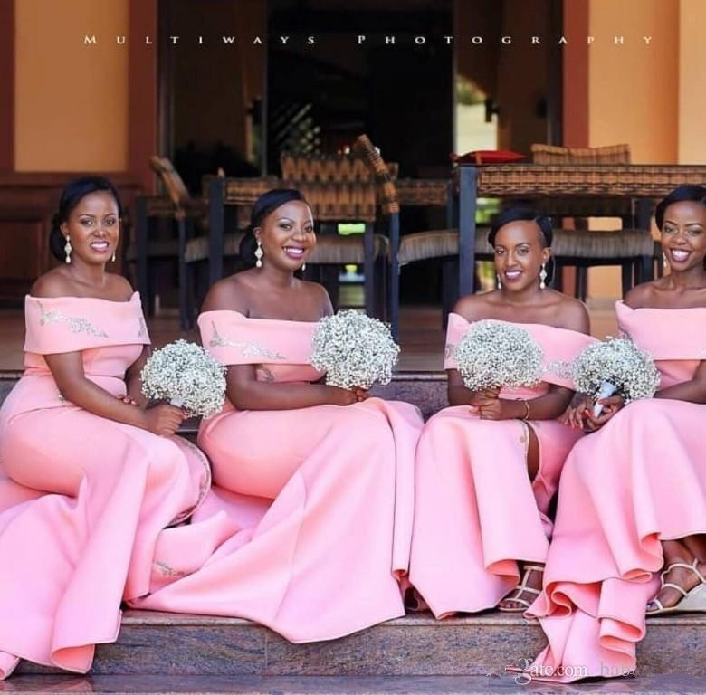 Pink 2019 Cheap   Bridesmaid     Dresses   Under 50 Mermaid Off The Shoulder Appliques Long Wedding Party   Dresses   For Women