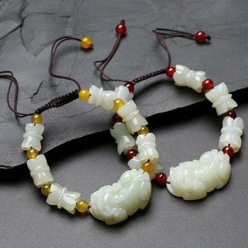Certified Natural Hand-Carved White Hetian PiXiu Agate Beads Bracelet Jewelry