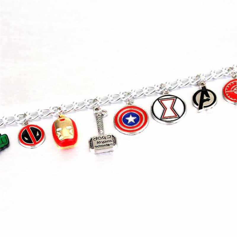 Os Vingadores Super Herói Capitão América Homem De Ferro Thor Deadpool Maravilha Mulher Charm Bracelet Bangle Para Presentes Das Mulheres Dos Homens