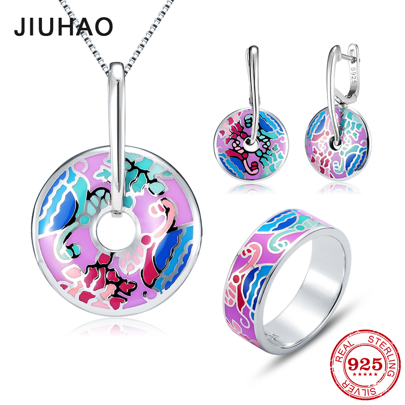 Jewelry set pale purple round for women 925 Sterling Silver charms fashion luxury Ring Necklace pendant Earrings Party Enamel