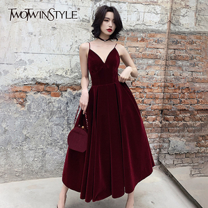 TWOTWINSTYLE Summer Backless Dress For Women V Neck Spaghetti Strap Sleeveless High Waist Sexy Party Dresses Female 2020 Fashion