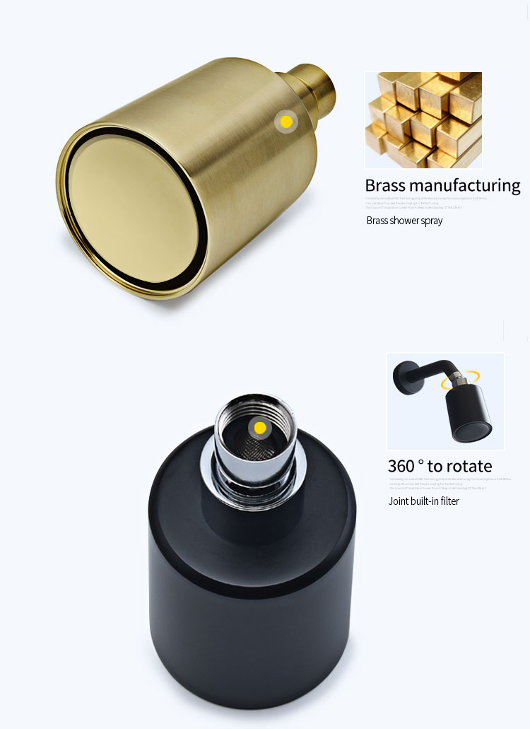 H2bc79fe78d2d4a9fbeed34a57e1697bdp Wall Mounted Bathroom Top Sprayer Brushed Gold Shower Faucet Set