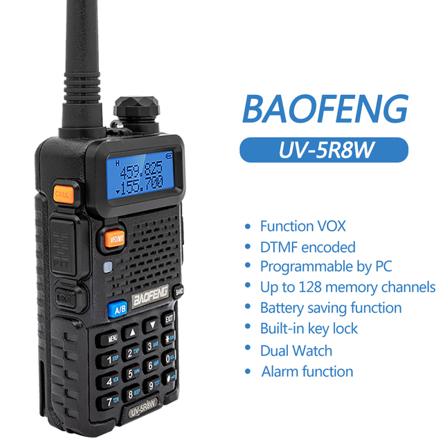 2PCS Baofeng UV-5R 8W High Powerful Two Way Radio Walkie Talkie CB Ham Portable Radio 10km Long Range Pofung UV5R for Hunting