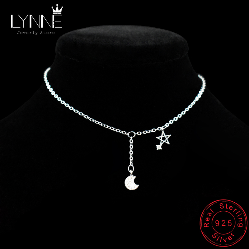 New Fashion 925 Sterling Silver Star&Moon Zircon Pendant Anklet Bracelet Constellation Symbol Foot Chain Women&Girl Jewelry Gift