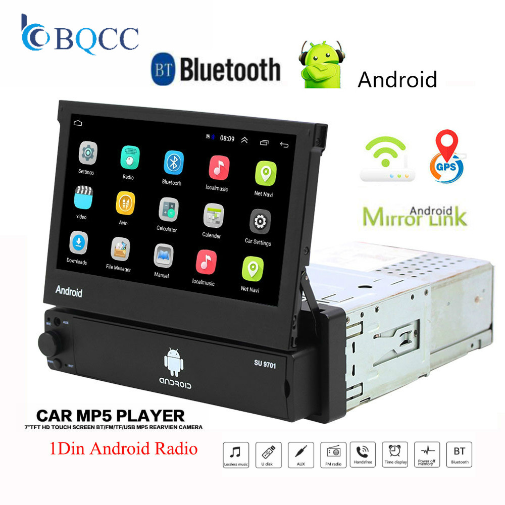 Retractable Android 8.1 Car Radio GPS Wifi Autoradio 1 Din MP5 7 ''Inch HD Touch Screen Multimedia Player Support Camera image