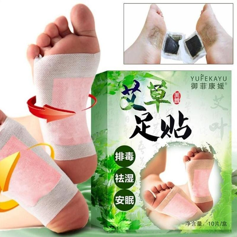 10pcs/bag Herbal Detox Wormwood Foot Patch Detoxification Moisture Cold Help Sleep Foot Relieving Pain Foot Pads Massager
