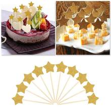 10pcs Stars Birthday Cake Cupcake Toppers Insertion Flags Cards Shiny Gold Party Dessert Table Decoration Stars Cake Decoration(China)