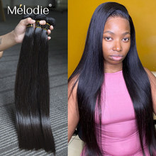 Melodie 28 30 32 36 40 Polegada pacotes retos 100% extensão do cabelo humano brasileiro 1 3 4 pacotes negócio venda inteira