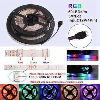Music / Bluetooth / WiFi RGB LED Strip Light 2835 DC 12V Waterproof 5M 60 LEDs/m Ribbon Led Diode Tape Controller Power Adapter