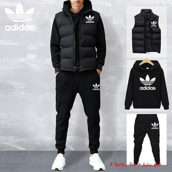 Adidas new men's hoodie vest three-piece suit sportswear sweatshirt hoodie + sweatpants jogging men's pullover 3XL sports suit