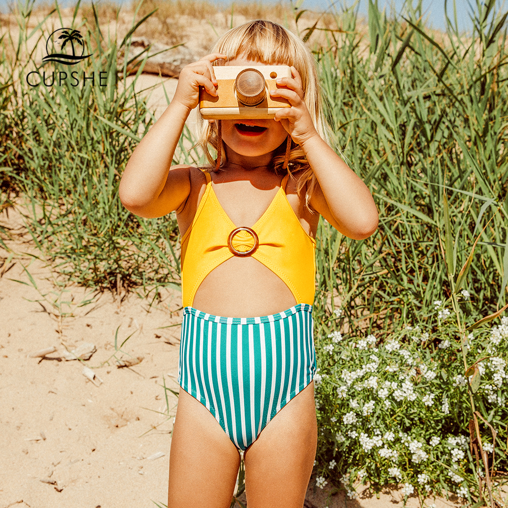 CUPSHE Yellow And Green Stripe Cut Out One-piece Swimsuit For Toddler Girls Children Swimsuit 2020 Kids Bathing Suits 2-12 Years