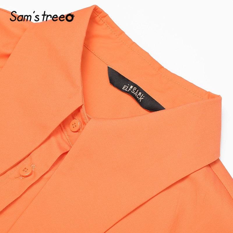 Image 4 - Samstree krawat w kratę kołnierz Vintage brytyjska elegancka bluzka koszula kobiety Top 2019 jesień pomarańczowy odzież robocza biurowe bluzki damskie w Bluzki i koszule od Odzież damska na