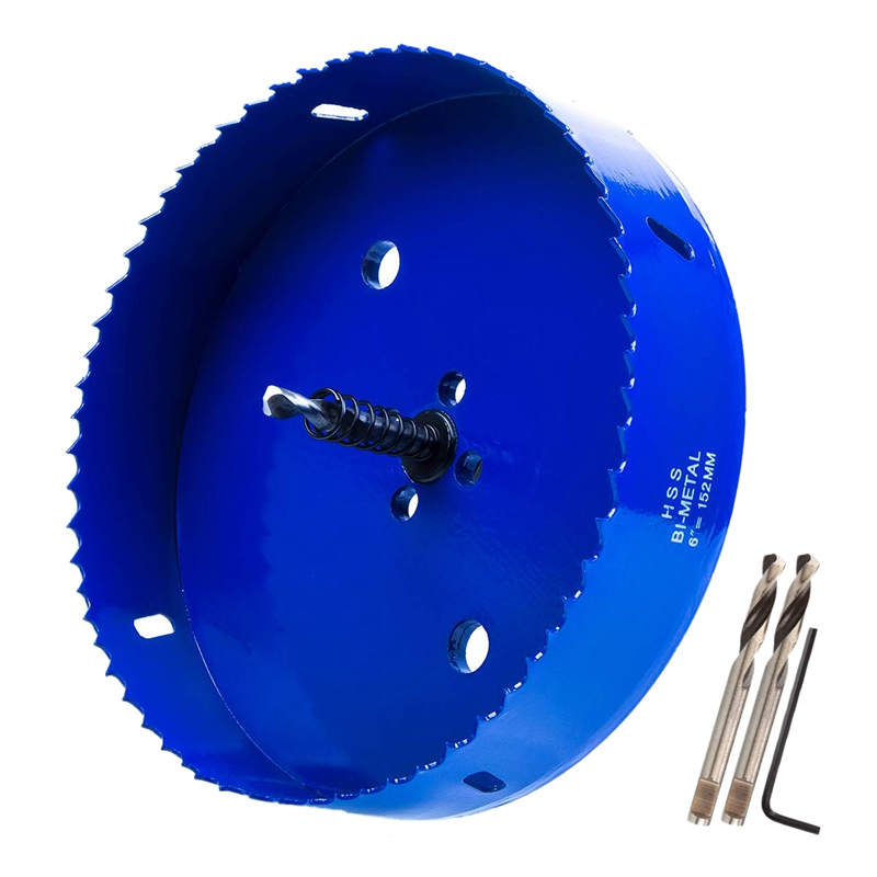 6 Inch 152 Mm Hole Saw Blade For Cornhole Boards/Corn Hole Drilling Cutter & Hex Shank Drill Bit Adapter (Blue)