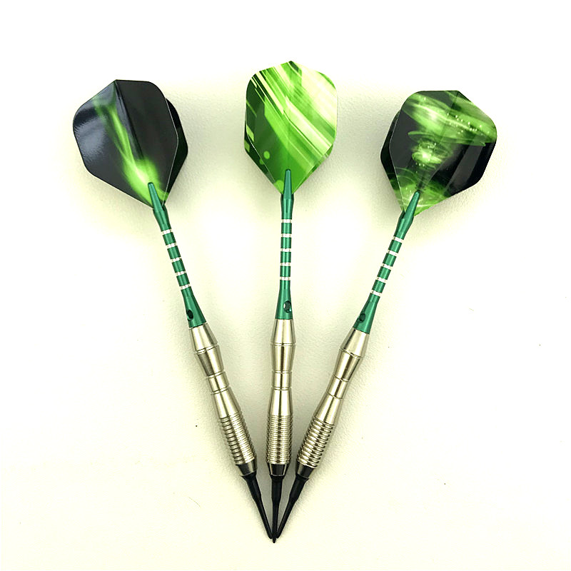 3 Pieces / Set Of Professional Darts 18g Green Soft Tip Darts Aluminum Alloy Darts Throwing Game