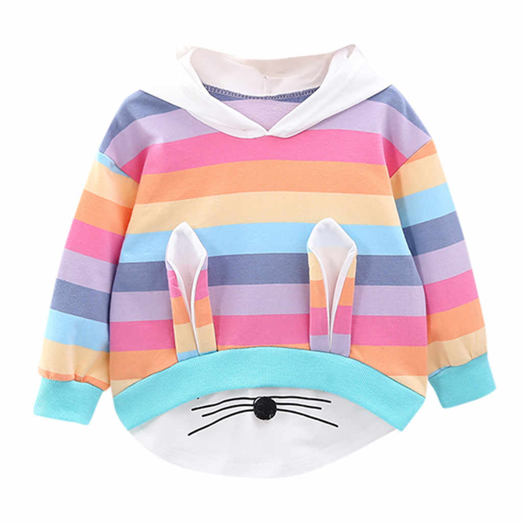Sweatshirt For Infants Toddler Kids Baby Girls Striped Rainbow Cartoon Hooded Sweatshirt Coat Tops Toddler Girl Winter Clothes