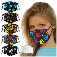 Masque facial en coton imprimé pattes de chien et chat, lavable et réutilisable, protection buccale anti-Pollution, en tissu noir, pour adulte, meilleure vente