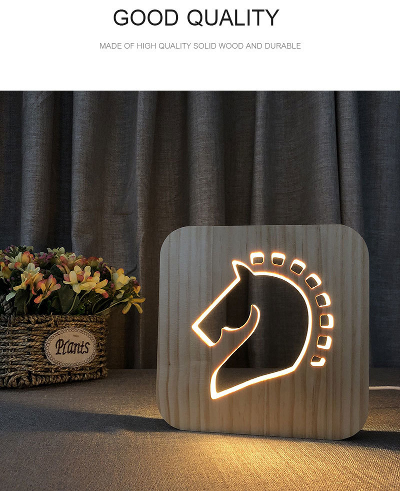 3D Wooden Lamp Creaitive Night Light Horse Shape Decorative Night Lamp USB Table Desk Lamp LED Lighting Gift LED Decor Lamp (1)