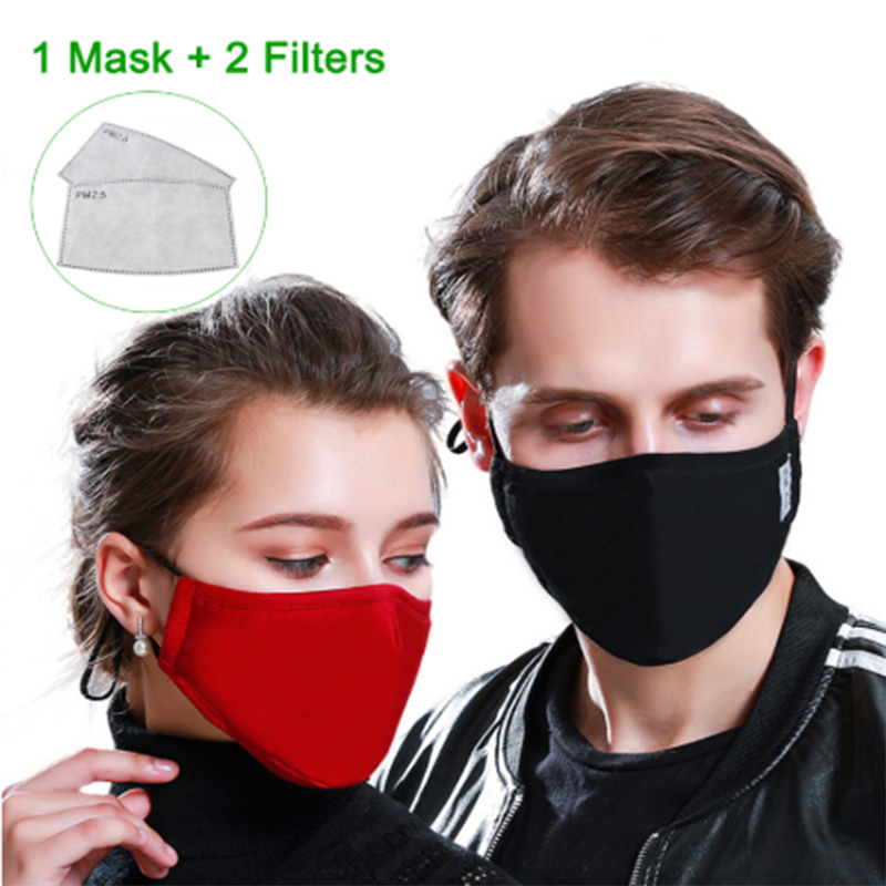 In Stock Cotton PM2.5 Black Dust Mask Anti-Pollution Mouth Mask Activated Carbon Filter Windbreaker Mouth-muffle Bacteria Mask