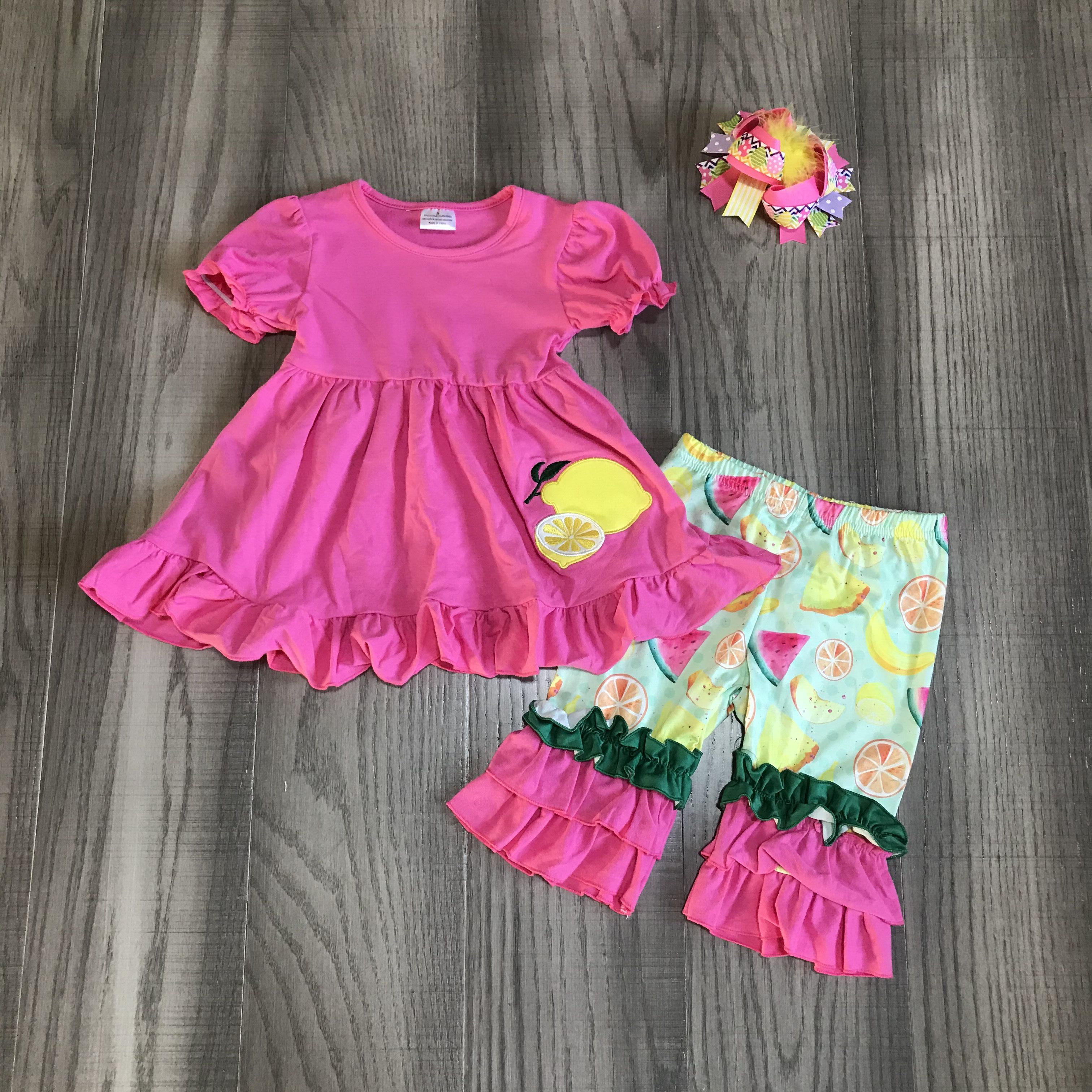 Baby Girls Summer Outfits Girls Rose Red Lemon Top With Fruit Capri Pants Girls Outfit With Bow