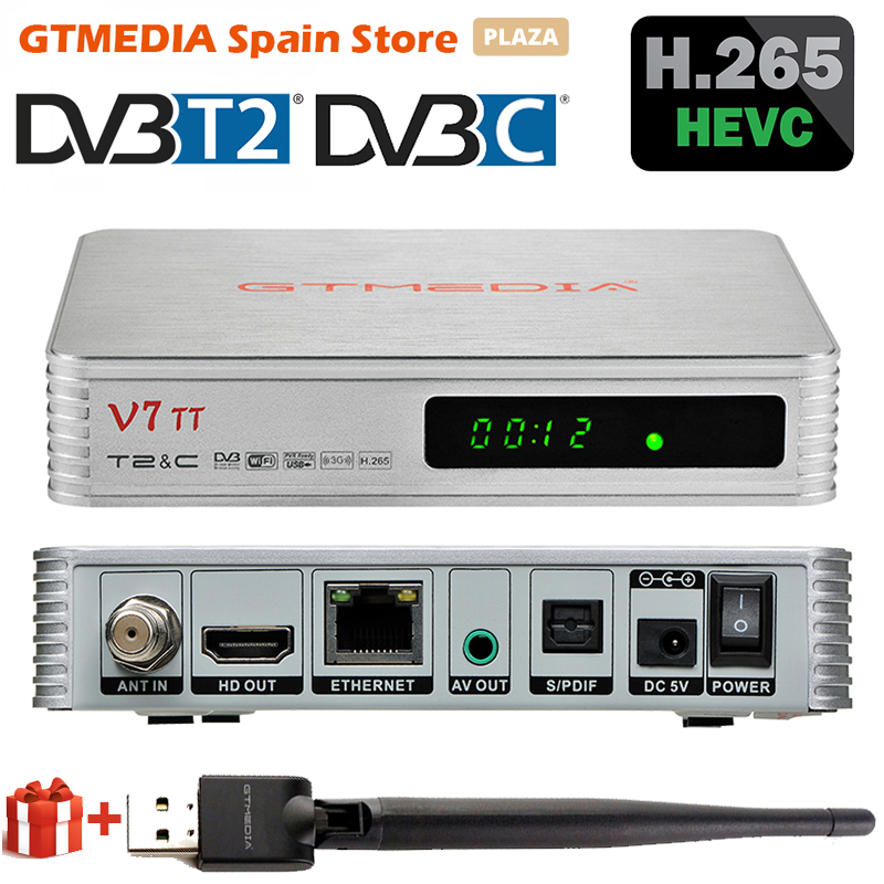 2020 GTMEDIA V7 TT суши ТВ приемник DVB-T2 проводной декодер H.265 HEVC 10Bit тюнер USB WI-FI YouTuBe Италия портуал Франции
