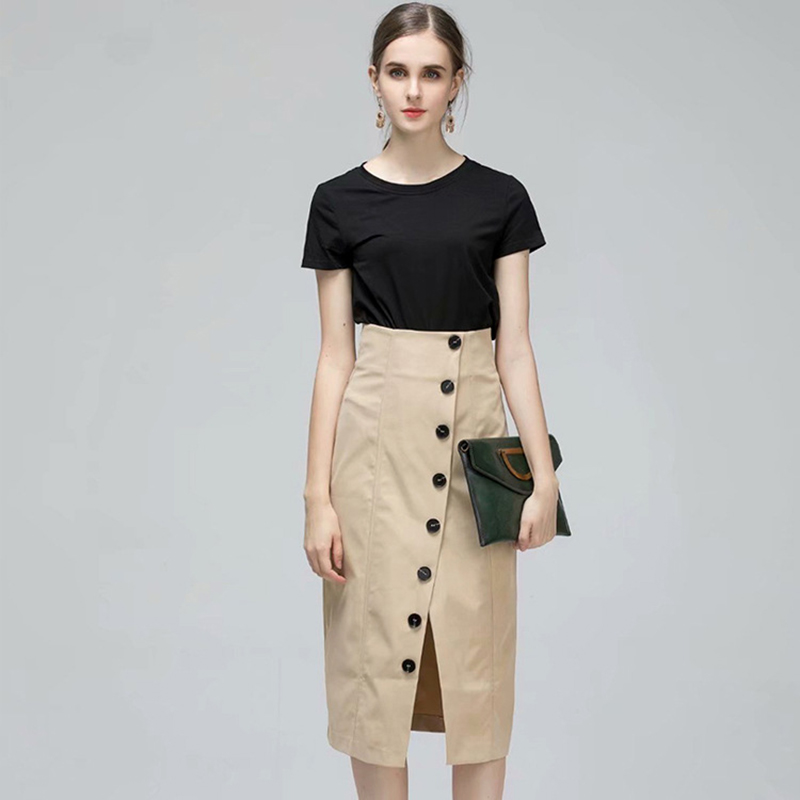 Automne nouveau deux-pièces femmes vêtements couleur unie T-shirt et taille haute jupe décontracté bureau dame Simple Style vêtements