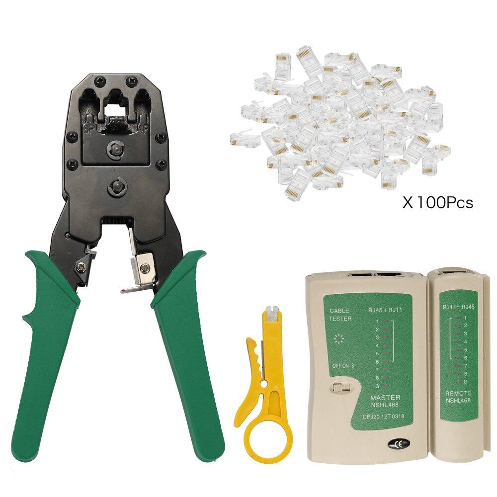 4Pcs set RJ45 RJ11 RJ12 CAT5 CAT5e Portable LAN Network Repair Tool Kit Utp network cable tester Plier Three net clamp tool