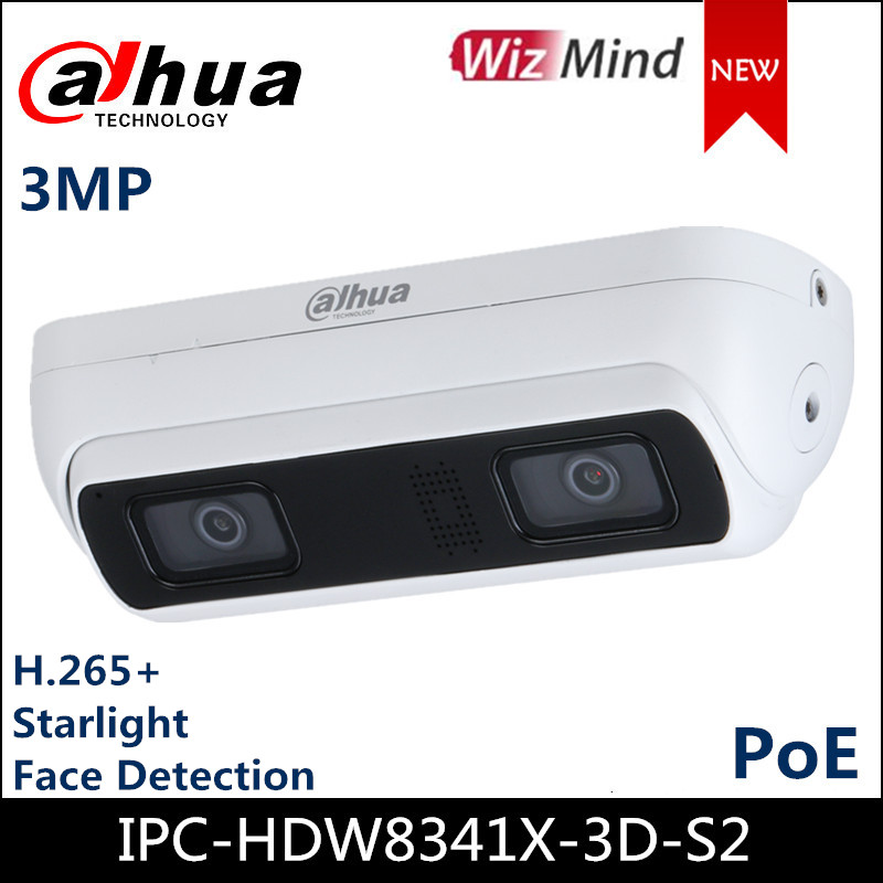 Dahua 3MP WizMind Dual-Lens Network Camera IPC-HDW8341X-3D-S2 H.265  built-in Mic and speaker Support  Face Detection