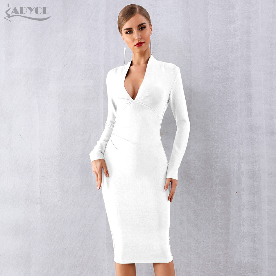 ADYCE 2019 New Winter Women Bandage Dress Vestidos Sexy Deep V Long Sleeve Bodycon Club Dress Midi Celebrity Evening Party Dress