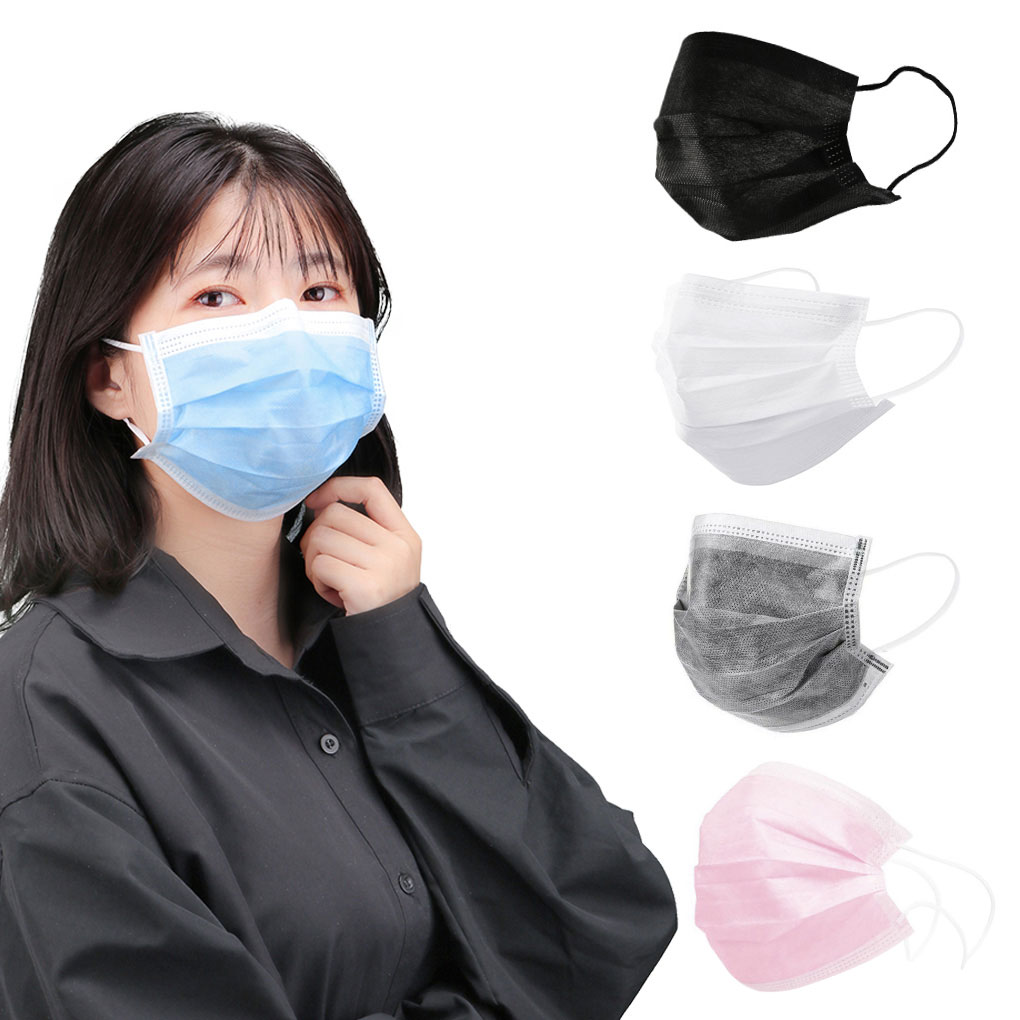 5/10/20/50/100 Pcs Non Woven Disposable Face Mouth Mask New Solid Color Anti-Dust Earloops Masks Pm 2.5 Earloops Masks