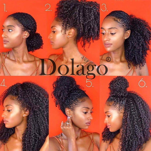 Afro Kinky CURLY Braiding Hair BULK สิ่งที่แนบมาบราซิล BULK สำหรับ Braiding 1 3 PC โครเชต์ Braids 4B 4C Dolago Remy