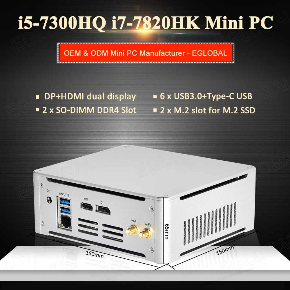 Mini PC System Unit Intel I7-7820HK I5-7300HQ 2*DDR4 2*M.2 NVME Gaming Computer Office PC HTPC 4K HDMI DP Type-C AC WiFi