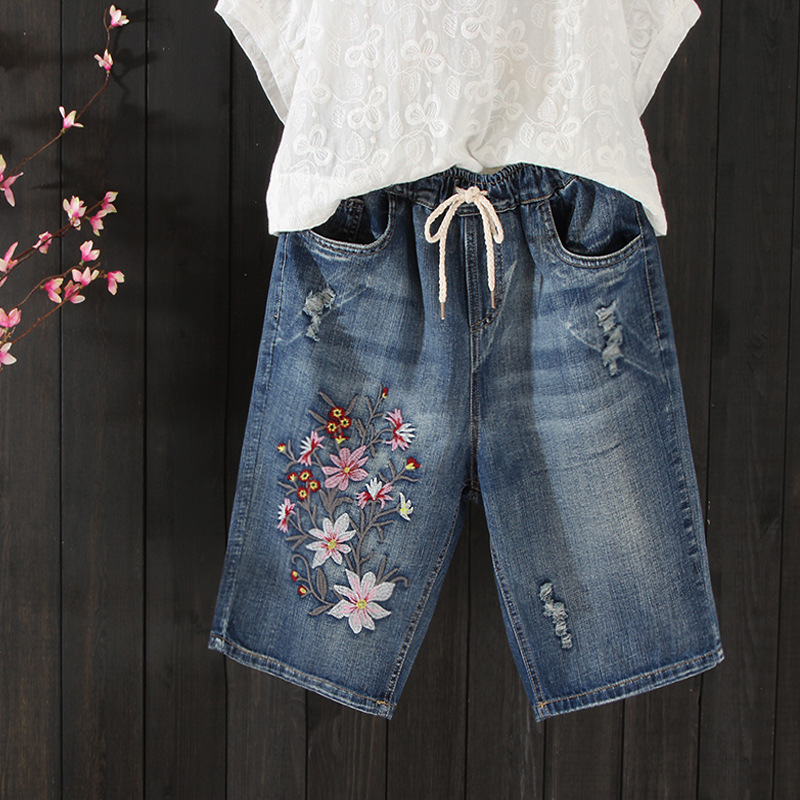 Summer Thin Flower Embroidered Shorts Jeans Woman Holes Ripped Ladies Vacation Beach Capris Denim Shorts Pants jean femme