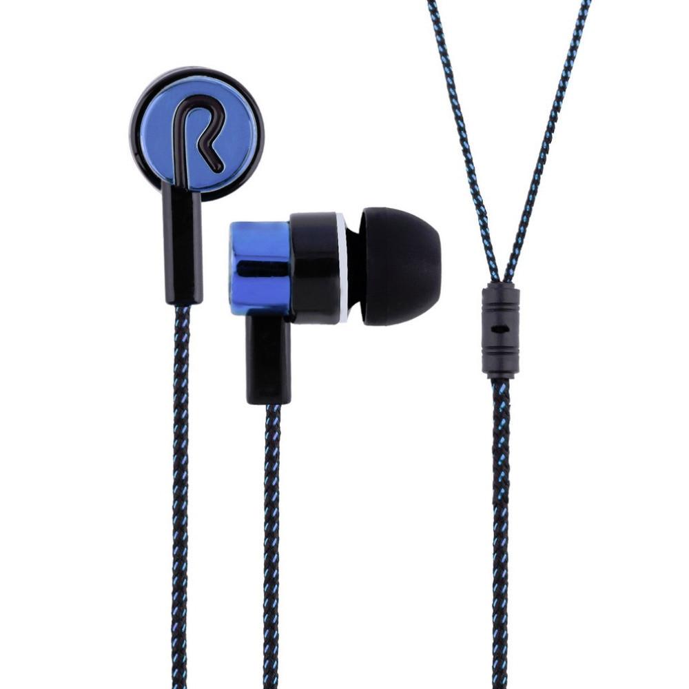 3.5mm Stereo Woven Fiber Cloth Line Headset Device Metal Earphones Jack Wholesale