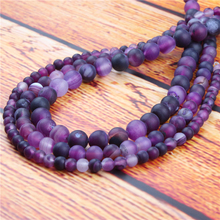 Purple Stripes Natural Stone Bead Round Loose Spaced Beads 15 Inch Strand 6/8/10/12mm For Jewelry Making DIY Bracelet