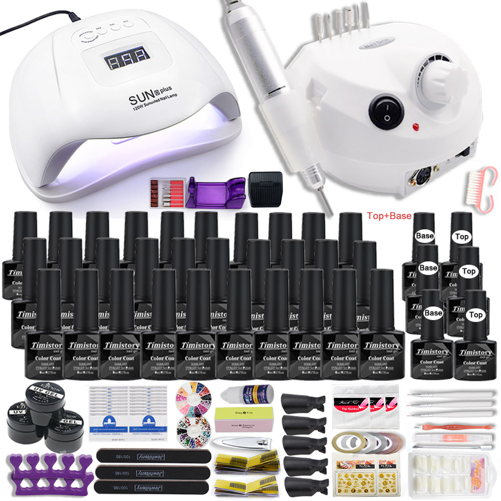 Dropshipping Hot Sale 30/20/10 Colors Nail Gel Polish Set Manicure Set Acrylic Nail Kit With High Quality 20W Nail Drill Machine