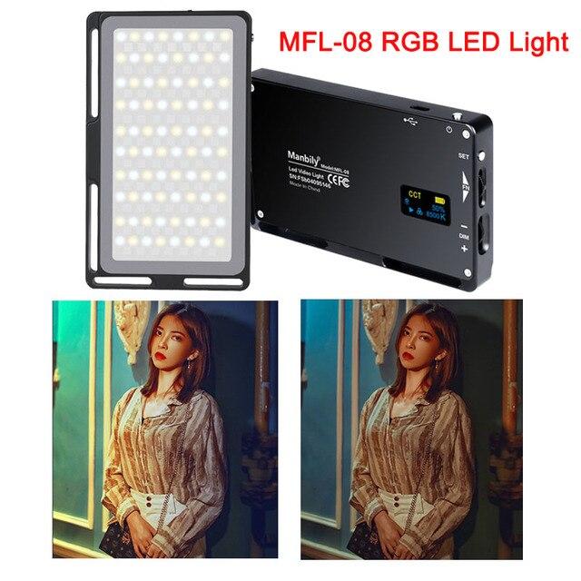 Manbily MFL 08 RGB LED 2500 K 8500 K Đèn Âm Trần Cảnh Phòng Thu Video Vlog Chụp Ảnh Chiếu Sáng Cho Youtube máy Ảnh DSLR