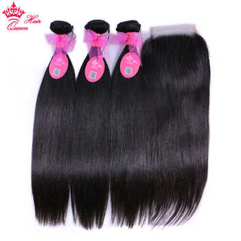 Queen Hair Products 100% Human Hair Brazilian Straight 3 Bundles With Closure Virgin Hair Extensions Natural color Lace Closure - DISCOUNT ITEM  54% OFF All Category